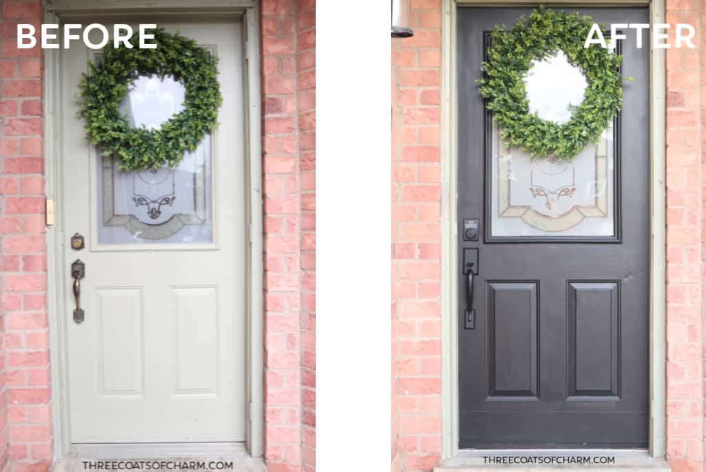 How To Paint A Front Door Without Removing It Three Coats Of Charm